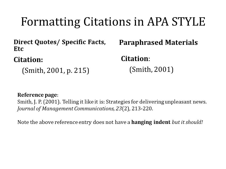 use citations research paper apa